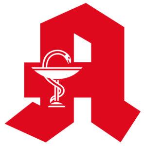 """Símbolo das farmácias (Apotheke) na Alemanha - """"A"""" vermelho com a serpente em torno da taça em branco."""
