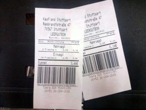 Dois cupons de desconto de Pfand, com os valores 3,66 e 0,16 euros.