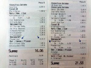 Dois cupons fiscais mostrando o valor pago pelo Pfand.